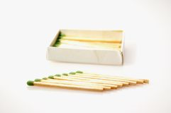 Matches isolated on white background. Green matches isolated on white background, make a pattern Royalty Free Stock Image