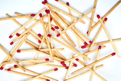 Matches lie against a matchbox, macro shot. Top View - flat lay. Stock Photography