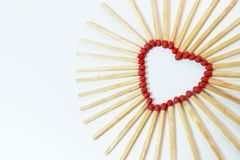 Matches are lined in the form of a heart. stock photo