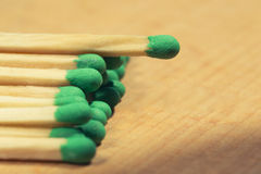 Matches macro. Matches closeup lying on a wooden table Royalty Free Stock Photo