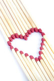 Matches making a heart Royalty Free Stock Photography