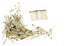 Matches. Many matches scattered on a white background isolated Royalty Free Stock Images