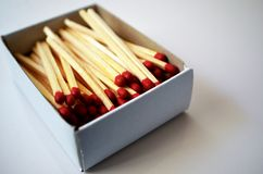 Matches in a match box royalty free stock images