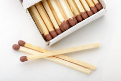 Matches and Matchbox. Matches in a cardboard matchbox on white paper background royalty free stock photography