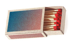 Matches in a matchbox. Royalty Free Stock Photo