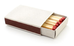 Matches in a matchbox. Royalty Free Stock Photos