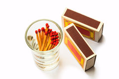 Matches and Matches Box. On white background Stock Images