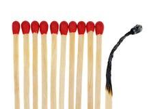 Matches med en brännskada ut arkivbild