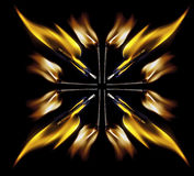 Matches. Mirrored burning matches in cross shape Royalty Free Stock Images