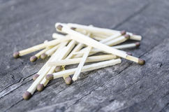 Matches. Modern matches are made of small wooden sticks or stiff paper. One end is coated with a material that can be ignited by frictional heat generated by Royalty Free Stock Image