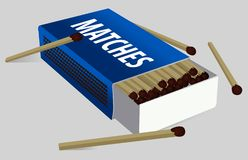 Open the boxes of matches. Vector Matchbox and Match. Icon. Logo. Isolated on gray background. Dark blue. vector illustration