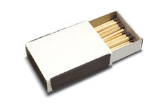 Matches in opened box Stock Photos
