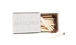 Matches in opened box. Isolated on white background Royalty Free Stock Photo