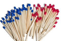 Matches with red and blue sulfur Stock Image