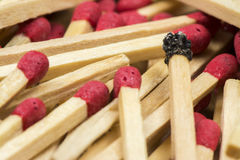 Matches. Some matches on wooden background Stock Photos