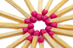 Matches in star form. Isolated on white background Stock Photos