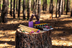 Matches trees forest. Matches are on a stump in the forest trees and matches deforestation different types of matches Royalty Free Stock Photo