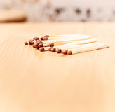 Matches wood on table. Bright matches wood on light table for games Royalty Free Stock Image