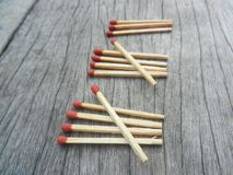 Matches on wooden background show number 13 royalty free stock images