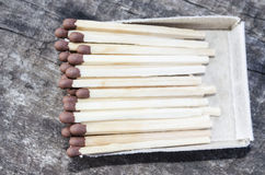 Matches, Wooden matches,  are packaged in matchboxes Royalty Free Stock Image