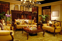 MATCHING ANTIQUE FURNITURE. A view of matching antique furniture in a luxury room stock photo