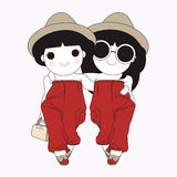 Matching Besties Character illustration. The illustration of 2 teenagers dressing in Matching style Stock Image