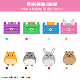 Matching children education game, kids activity. Match animals with box Stock Photo