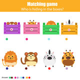 Matching children education game, kids activity. Match animals with box Royalty Free Stock Photography