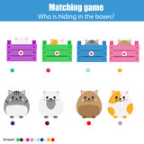 Matching children education game, kids activity. Match animals with box Royalty Free Stock Images