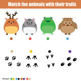 Matching children education game, kids activity. Match animals with trails. Royalty Free Stock Image