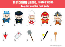 Matching children education game. Professions theme Royalty Free Stock Images