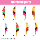 Matching children educational game with ice cream cones Royalty Free Stock Images
