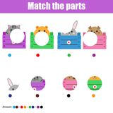 Matching children educational game. Kids activity. Match animals parts Royalty Free Stock Photos