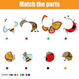 Matching children educational game. Kids activity. Match insects parts. Find missing puzzle. Matching children educational game. Match insects parts. Find Royalty Free Stock Photo
