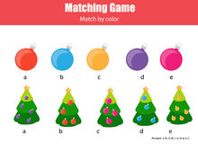 Matching children educational game, match by color. Royalty Free Stock Photo