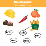 Matching children educational game, match food by taste. Matching pairs game for kids. Match food with taste Royalty Free Stock Photography