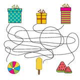 Matching children educational game. Match the gift box with object. Educational children game with maze. vector illustration