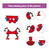 Matching children educational game. Match insects parts. Find missing puzzle. Activity for pre school years kids.  Stock Image