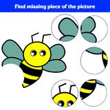 Matching children educational game. Match insects parts. Find missing puzzle. Activity for pre school years kids.  Royalty Free Stock Photo