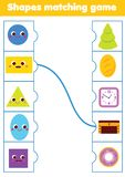 Matching children educational game. Match objects and shapes. Activity for kids and toddlers. stock photos