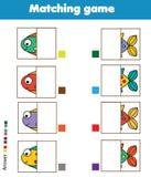 Matching children educational game. Kids activity. Match fish parts. Matching children educational game. Match parts of fish. Activity for pre shool years kids Stock Photos