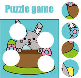 Matching children educational game. Match pieces and complete the picture. Puzzle kids activity, Easter theme. Matching children educational game. Match pieces Stock Photography