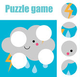 Matching children educational game. Match pieces and complete the picture. Puzzle kids activity. weather theme Stock Images