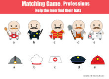Matching children educational game. Professions theme Stock Photos