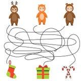 Matching children game, maze kids activity royalty free illustration