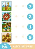 Matching education game for children. Cartoon animals on a colored background