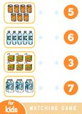 Matching education game. Count how many items and choose the correct number. Drink set royalty free illustration
