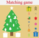 Matching educational game for children. Stickers game with New Year, Christmas tree.  Royalty Free Stock Images