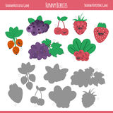 Matching game with berries for preschool children. Find the correct shadow. Funny berries in flat style  on white background. Vector illustration for children Stock Image