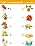 Matching game for children, animals with their homes